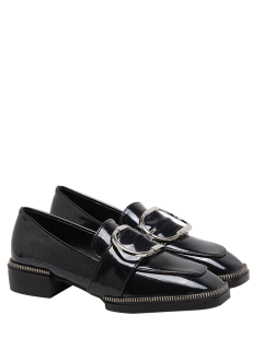 Buckle Strap Square Toe Flat Shoes - Black 39