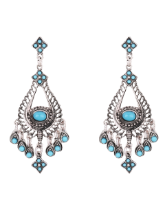 Teardrop Chandelier Earrings - Blue