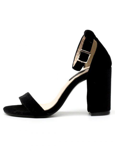 sale Block Heel Velvet Ankle Strap Sandals - BLACK 40 Mobile