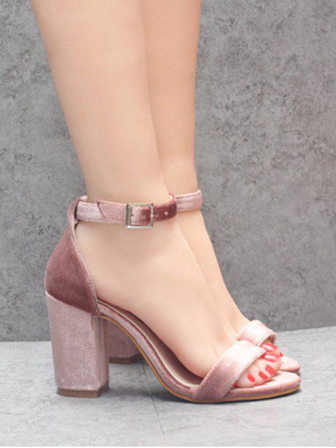 women Block Heel Velvet Ankle Strap Sandals - PINK 38 Mobile