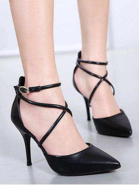 outfits Faux Leather Cross Straps Mini Heel Pumps - BLACK 37 Mobile
