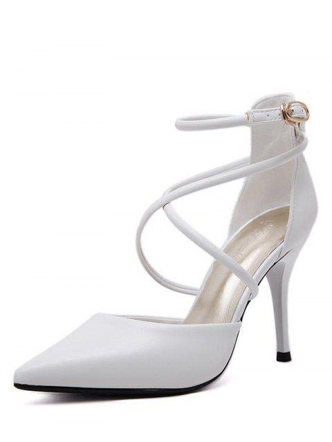 fashion Faux Leather Cross Straps Mini Heel Pumps - WHITE 38 Mobile