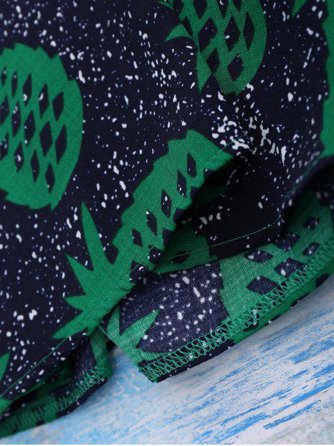 fancy Crosscriss Pineapple Print Beach Dress - PURPLISH BLUE L Mobile