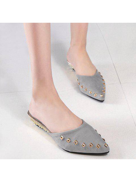 best Metal Rivets Pointed Toe Slippers -   Mobile