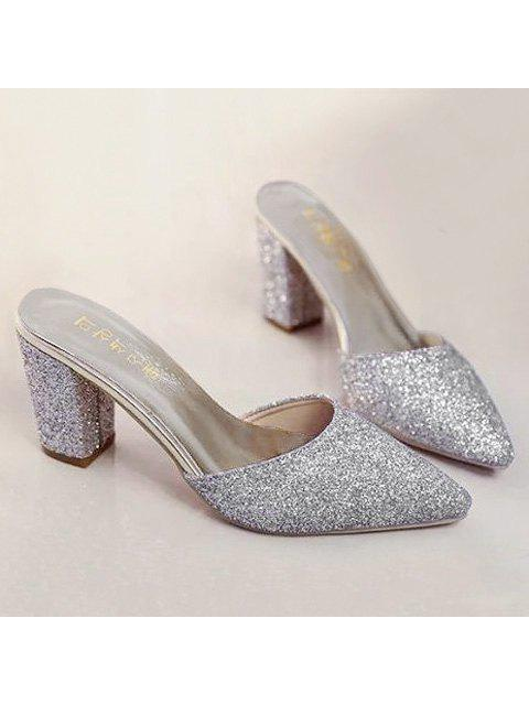 online Glitter Pointed Toe Slippers - SILVER 37 Mobile