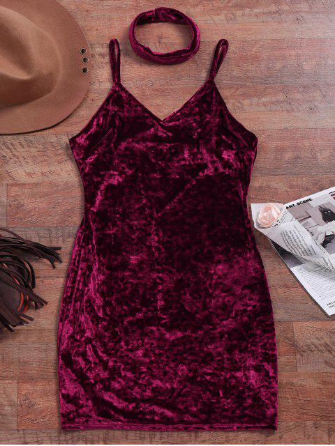 unique Crushed Velvet Bodycon Slip Dress - WINE RED S Mobile