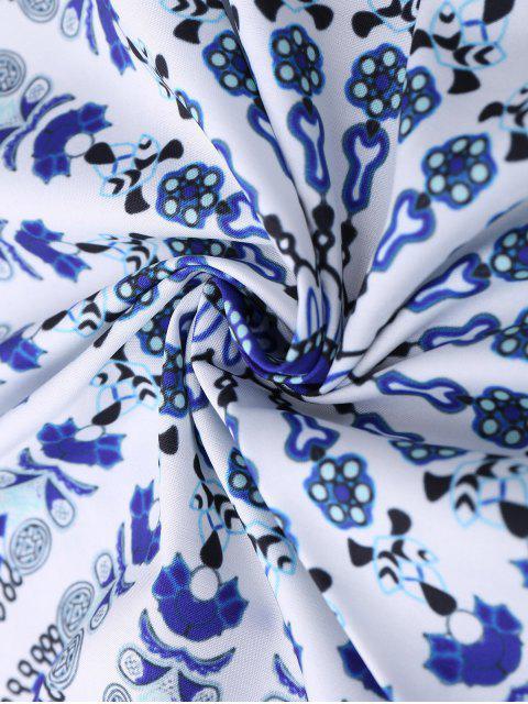Couverture de plage ronde à motifs cachemire géométriques - Bleu TAILLE MOYENNE Mobile