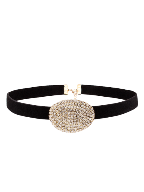 womens Rhinestone Faux Suede Choker Necklace - GOLDEN  Mobile
