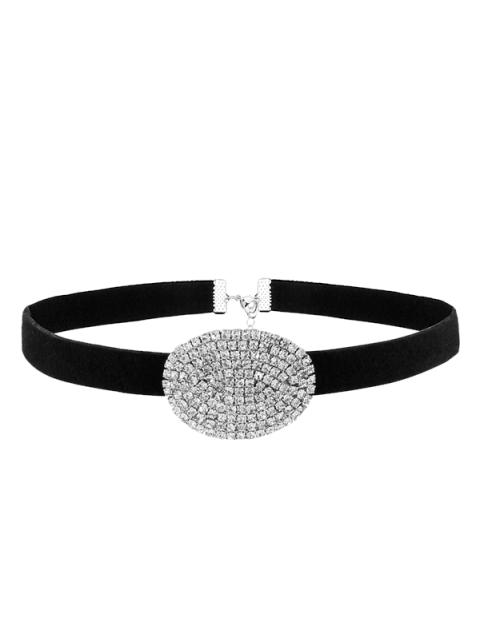 women Rhinestone Faux Suede Choker Necklace - SILVER  Mobile
