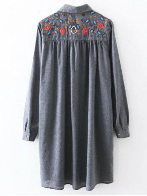 buy Embroidered Yoke Smock Shirt Dress - GRAY L Mobile