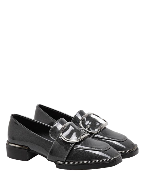 fashion Buckle Strap Square Toe Flat Shoes - GRAY 37 Mobile
