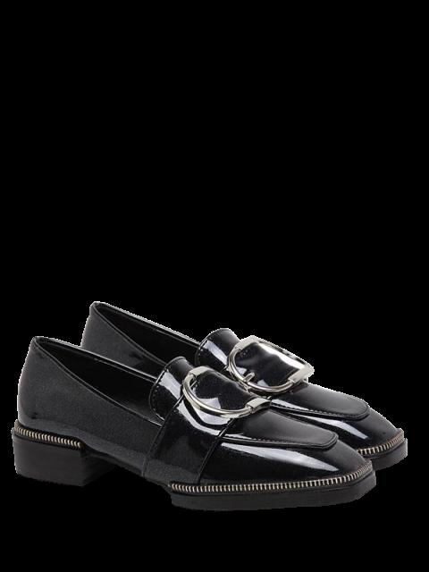 shop Buckle Strap Square Toe Flat Shoes - BLACK 37 Mobile