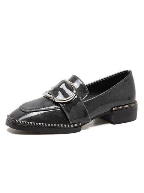 chic Buckle Strap Square Toe Flat Shoes - GRAY 38 Mobile