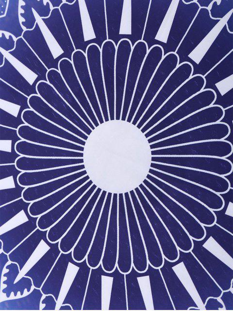 Couverture de plage ronde à motifs géométriques - Bleu TAILLE MOYENNE Mobile