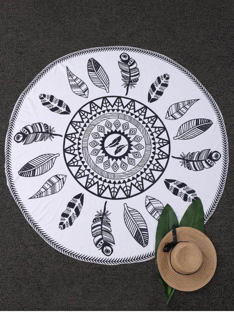sale Leaf Print Round Beach Blanket - WHITE  Mobile