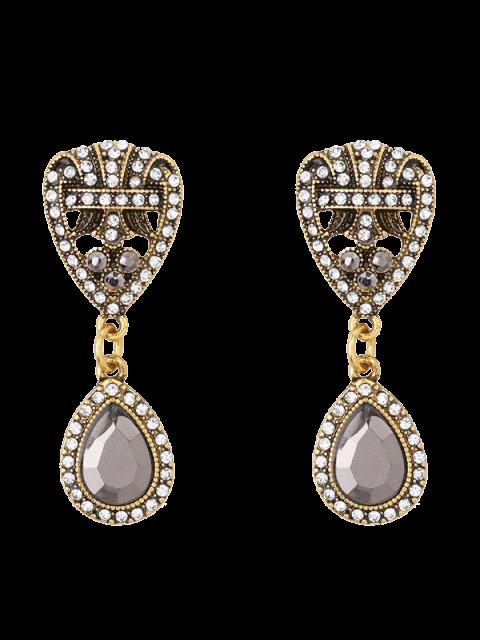 chic Rhinestone Teardrop Heart Earrings - GOLDEN  Mobile
