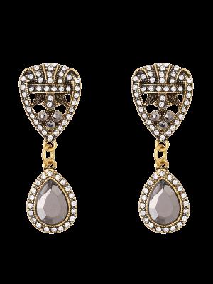 Rhinestone Teardrop Heart Earrings - Golden