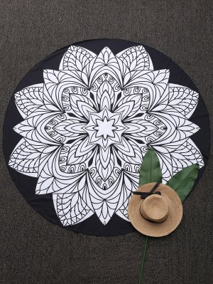 Convertible 3D Print Round Beach Blanket - Black