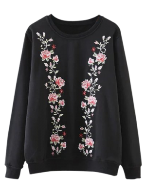 Embroidered Crew Neck Pullover Sweatshirt - Black S
