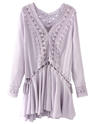 Lace Trim Lace Up Tunic Dress - Purple S