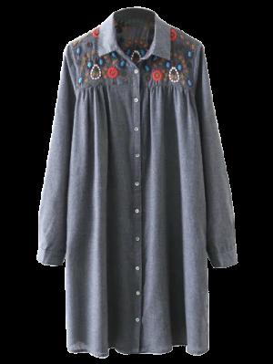 Vestido Camisero De Bata Con Bordado De Yugo - Gris L