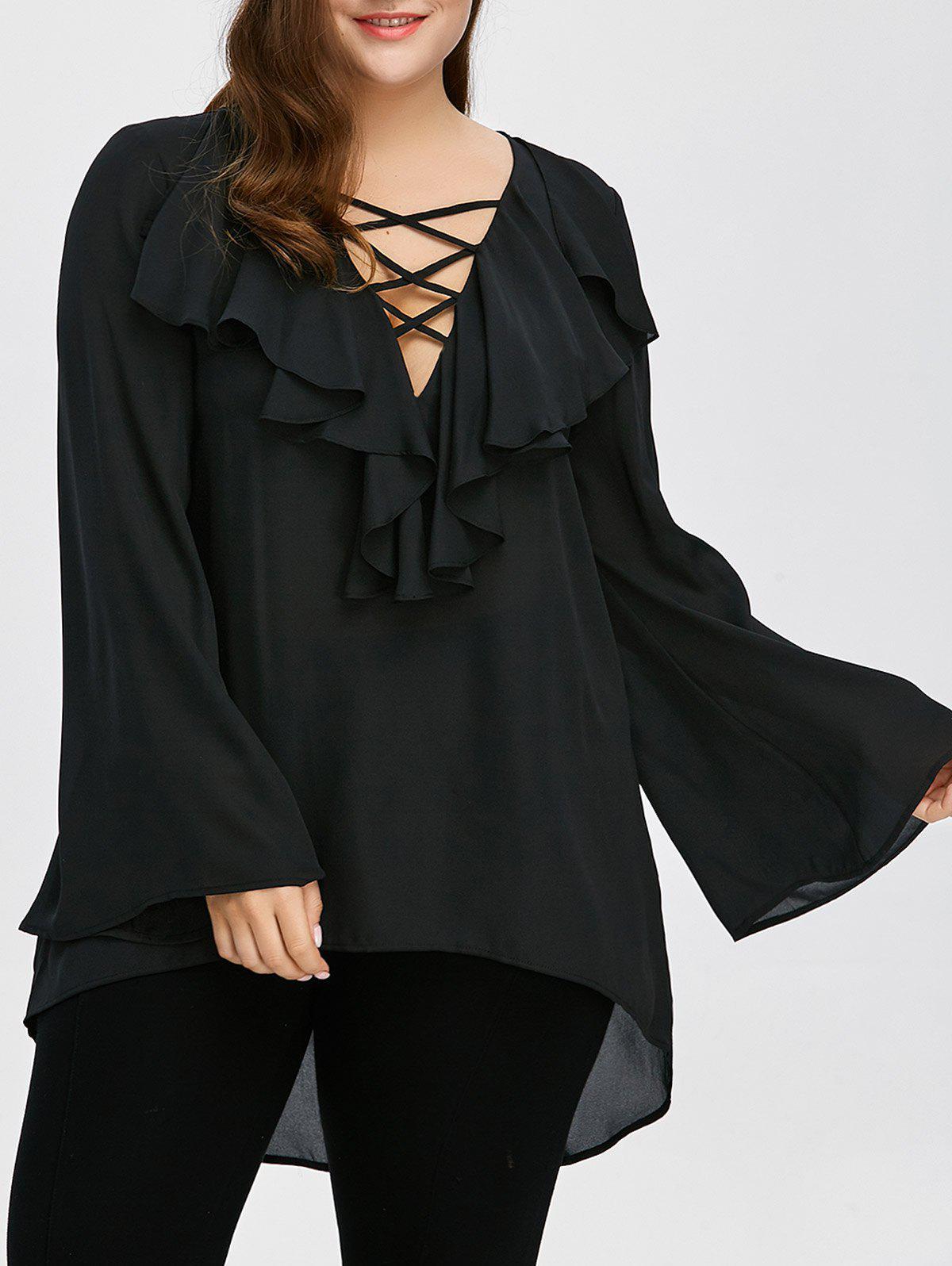 Plus Size Ruffle Front Lange Flare Hlle Lace Up Bluse