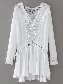 Lace Trim Lace Up Tunic Dress - White S