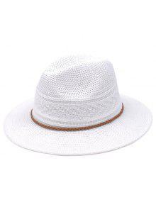 تنفس مضفر حبل سترو الجاز قبعة - أبيض