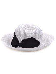 التشفيه بونوت الرامي القش قبعة - أبيض