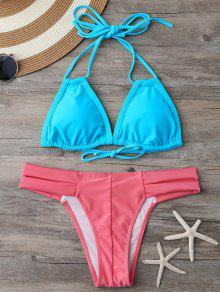 Banded Halter Thong Bikini - Blue And Pink M