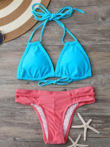 Haut De Bikini Rembourré Et Bas à Lanières Tressées - Bleu Et Rose M