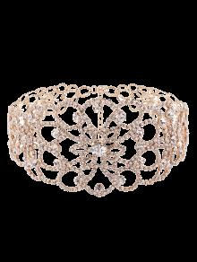 Floral Rhinestoned Wide Choker - Golden