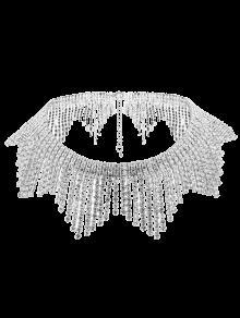 Rhinestoned Collar Con Flecos De La Aleación - Plata