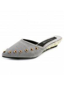 Metal Rivets Pointed Toe Slippers - Gray 38 cheap sale online 0d9oEPGgm