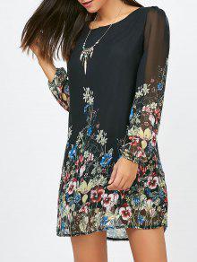 فستان مستقيم طباعة الأزهار شيفون - أسود M