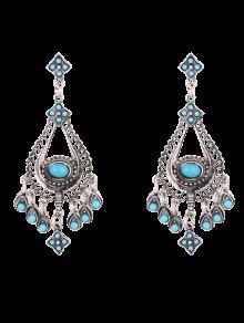 Teardrop Chandelier Earrings - Blue