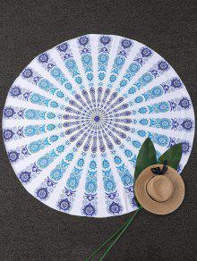 Geometric Circle Paisley Beach Throw - Blue