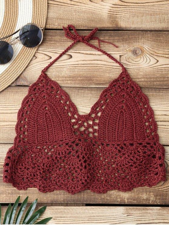 57f169b94443e 15% OFF  2019 Back Tied Crochet Swim Top In BRICK-RED