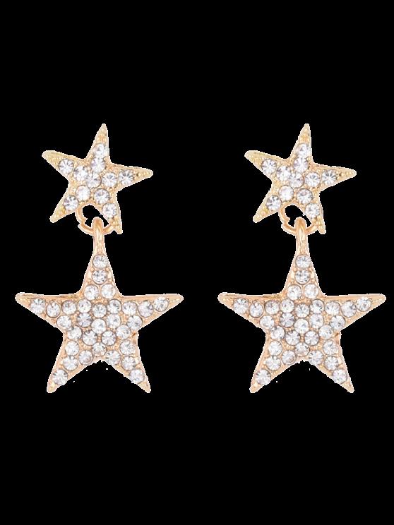Pendientes Rhinestoned pentagrama - Dorado