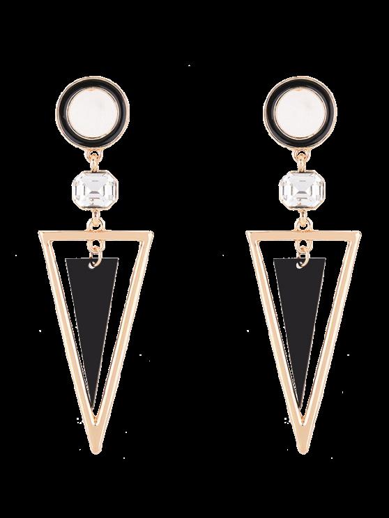 Boucles d'oreilles circulaires avec pendentifs triangulaires décorés de strass - Or