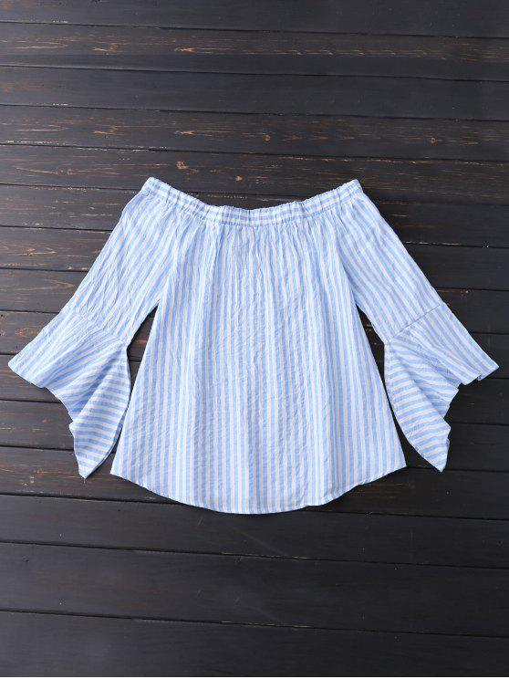 fancy Bell Sleeve Off Shoulder Striped Blouse - SKY BLUE M