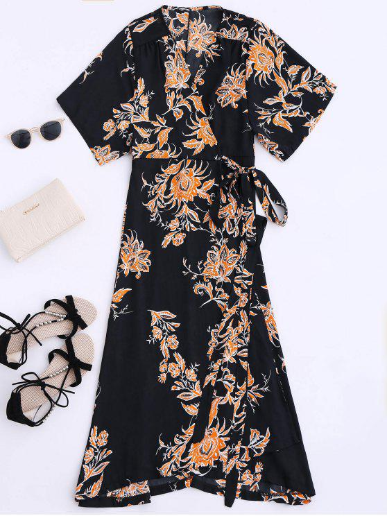 women Floral Chiffon Wrap Beach Dress - BLACK XL