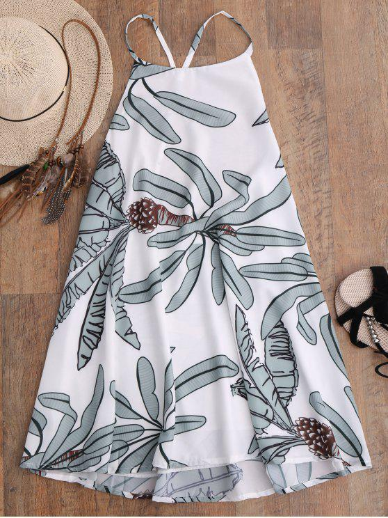 Vestido de Tirantes Finos con Estampado de Hojas - Blanco M