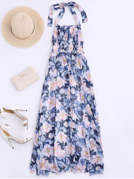 outfits Shirred Halter Floral Maxi Beach Dress - FLORAL S