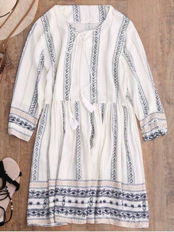 trendy Stripe Print Mini Smock Dress - OFF-WHITE M