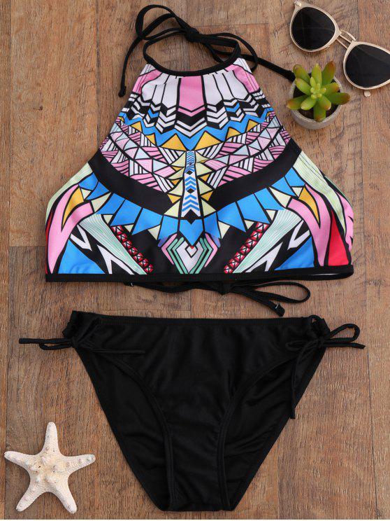 Bikini à col haut imprimé de motifs aztèques - Noir L