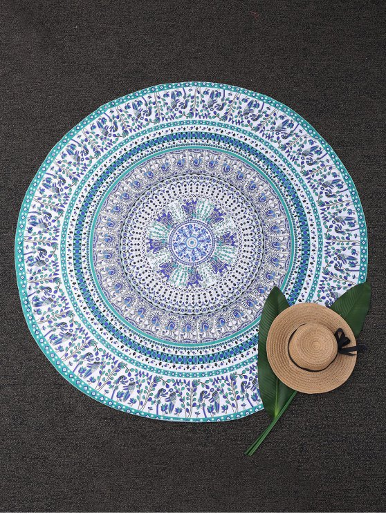 buy Round Tropical Print Beach Blanket - COLORMIX