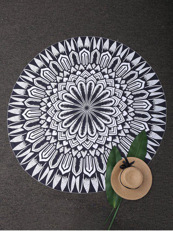 womens Round Mandala Tapestry Beach Blanket - BLACK