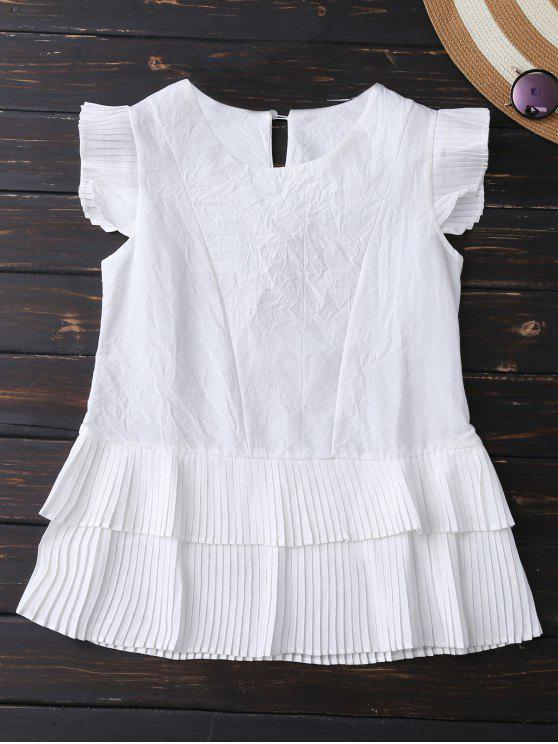 trendy Layered Pleated Panel Blouse - WHITE XL