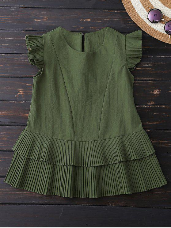 fancy Layered Pleated Panel Blouse - ARMY GREEN L